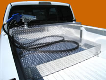 Aluminum fuel tanks and transfer tanks for pickup trucks by Highway Products.