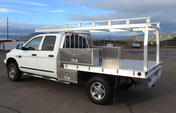 Lumber Rack Built By Highway Products For An Aluminum Truck Flatbed With Tool Bo To Also