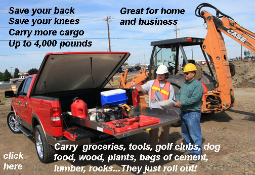 Toneau covers, camper shells, and canopys  make it hard to get items out of your pickup bed. The Roller Coaster by 1-800-TOOLBOX gives you an easy way to pick your tools, groceries, golf clubs, dog food, lumber, potted plants, or what ever you might carry out of your pickup bed.