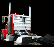 Aluminum Semi truck cab guard or headache rack built by Highway Products.