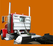 Semi truck cab guard or headache rack built by Highway Products.