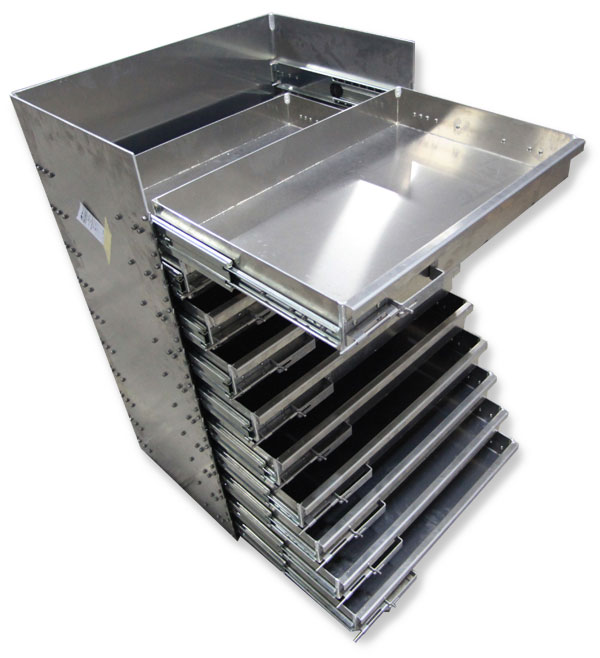 Truck storage drawers for service bodies and tool boxes by Highway Products.